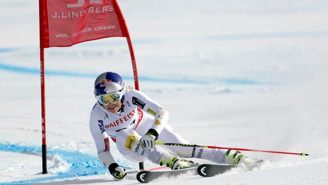Feb 12, 2015; Beaver Creek, CO, USA; Lindsey Vonn of the United States during run two of the women's giant slalom in the FIS alpine skiing world championships at Raptor Racecourse. Mandatory Credit: Erich Schlegel-USA TODAY Sports