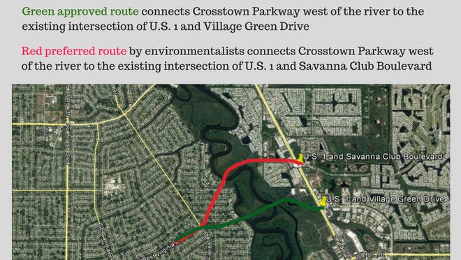 This graphic shows the route of the Crosstown Parkway bridge upheld Friday by a federal appeals court. Environmentalists' preferred route also is shown.