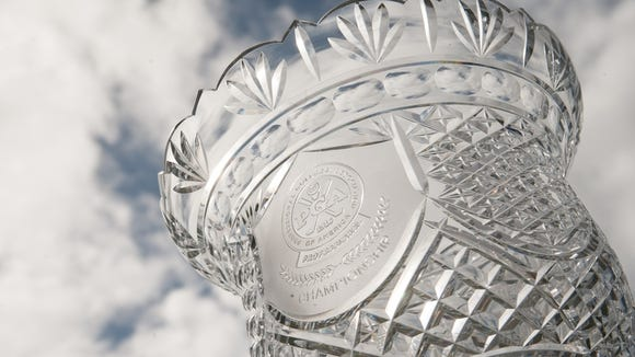 The Walter Hagen Cup on display during the first round