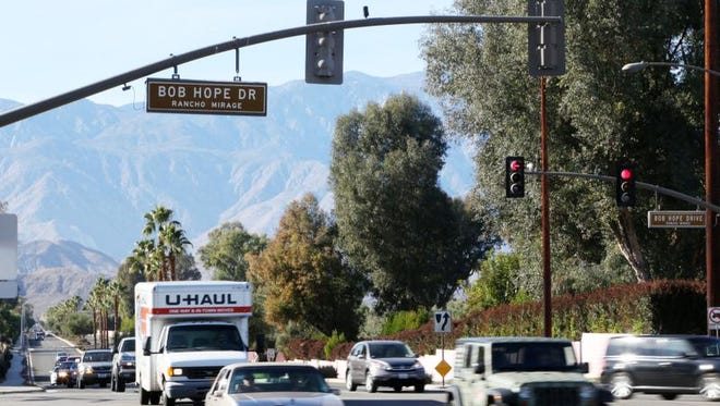 The intersection of Bob Hope Drive and Frank Sinatra Drive in Rancho Mirage has had the most crashes of any other in the past three years according to city study. Traffic moves eastbound on Sinatra crossing Hope, photographed Tuesday, December 17, 2013.