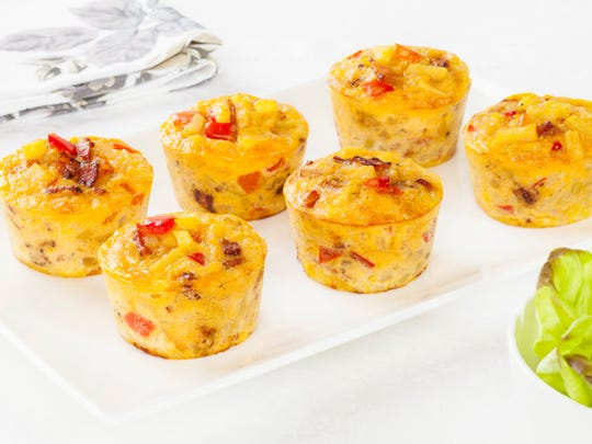 Mini frittatas, also known as breakfast cupcakes, can be flavored with any kind of vegetables, cheese, herbs or breakfast meat.