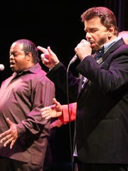 Nicky Addeo, far right, on stage at the Paramount Theatre in Asbury Park.