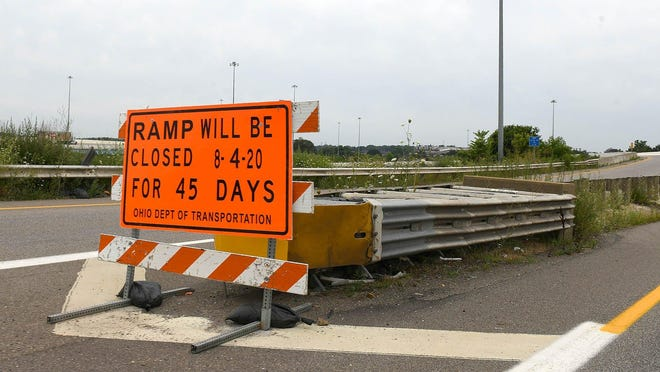 An sign at U.S. Route 30 westbound to the north/south split of Interstate 77 indicates the a 45-day ramp closure beginning Tuesday.