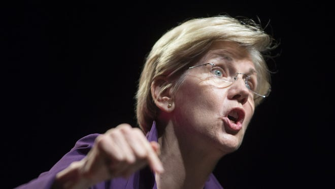 In this file photo, Elizabeth Warren gives the morning keynote at the Phoenix Convention Center during the Netroots Nation convention.