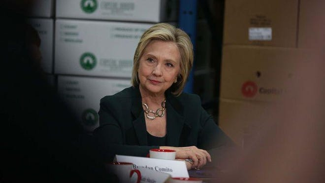 Presidential hopeful Hillary Clinton speaks to a group of central Iowa small business owners on Wednesday, April 15, 2015, at Capital City Fruit in Norwalk.