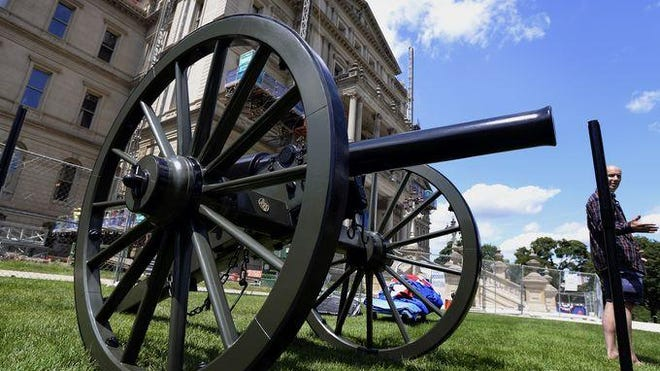 One of the two Civil War Replica cannons installed on the east lawn of the Capitol Building in Lansing on Thursday. The two will replace the long-missing Civil War cannons from the Union Army 1st Michigan Light Artillery Regiment Loomis Battery out of Coldwater. Some speculate the originals were melted down for use of the metal in WWII.