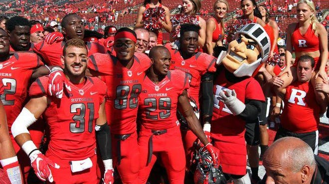 Rutgers celebrates a victory in this file photo.