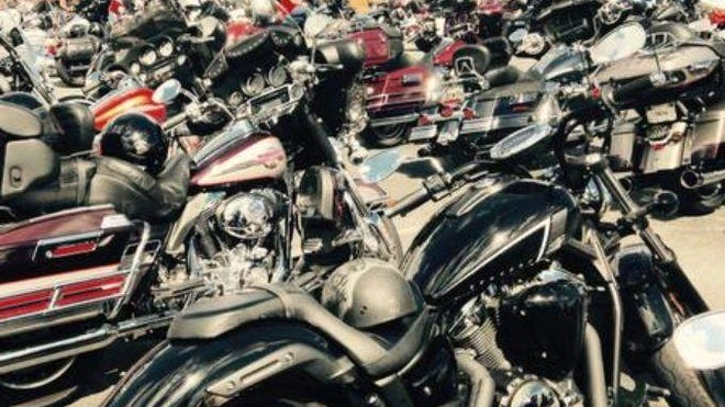 Scores of motorcycles are parked and on display at Arthur W. Perdue Stadium near Salisbury. The stadium was among venues on the Lower Shore hosting the 15th annual biker event that attracted thousands. Other venues included WinterPlace Park nearby, locations in Ocean City and the Rommel Harley-Davidson Delmarva bike products and service center in Seaford, the latter, a Bike Week sponsor.