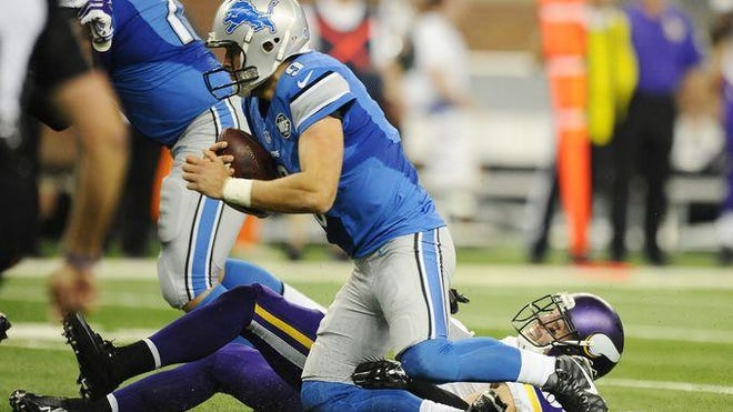Lions coach Jim Caldwell didn't want to assign blame Monday for his team allowing seven sacks on quarterback Matthew Stafford in Sunday's loss to the Vikings.