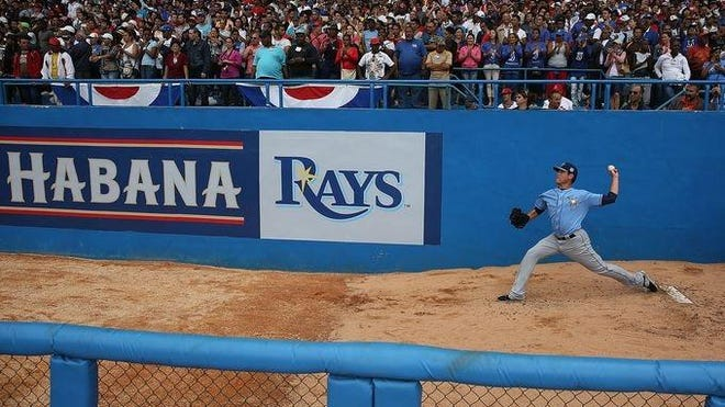 Rays pitcher Matt Moore warms up in the bullpen prior to Tuesday's game against the Cuban National Team in Havana, Cuba.