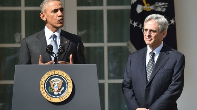 President Obama announces his Supreme Court nominee, Merrick Garland, in the Rose Garden at the White House on March 16, 2016. Garland was blocked from receiving a hearing by U.S. Senate Majority Leader Mitch McConnell.