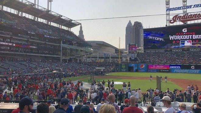 Fans fill up the stands at Progressive Field before the start of the Home Run Derby.