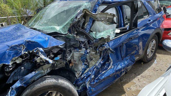 Ken Kavanagh's SUV after a pickup truck hydroplaned into him in Florida. Kavanagh escaped serious injury.