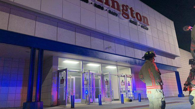 Rockford firefighters respond Saturday, May 30, 2020, to a break-in and fire at Burlington Coat Factory, 6260 E. State St., Rockford.