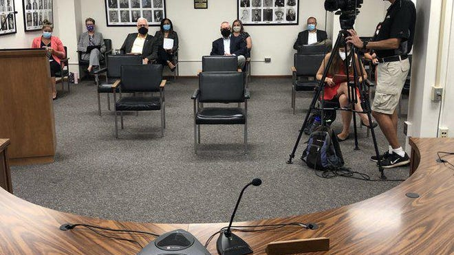Chairs were kept six feet apart to accomplish social distancing in the audience at Monday's meeting of the Shawnee County Commission.