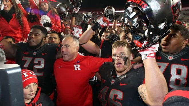 Rutgers football celebrates its Senior Day win against Indiana to clinch bowl eligibility.