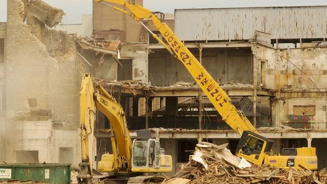 Demolition continues at the Hamilton plant in Two Rivers.