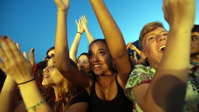 Concert-goers enjoy the bands at Tachevah: A Palm Springs Block Party.