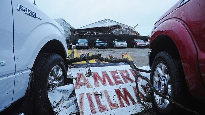 Tornado damage at Springs Auto on Thursday after a tornado tore through the area on Wednesday in Wessington Springs.
