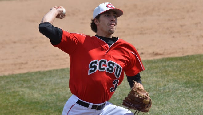 David Kroger is a 23-year-old junior pitcher on the St. Cloud State baseball team. Kroger, a Sauk Rapids High School graduate, took three years off from college to work to help his family before returning to baseball last year.