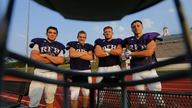 Rumon Fair-Haven cornerback Mike Caruso, strong safety Mike Murdock, linebacker Mike Runane and Linebacker Max Pfrang during football practice at Rumson-Fair Haven High School. Rumon,NJ. Monday August 17, 2015. Noah K. Murray-Special for the Asbury Park Press ASB 0903 Tab Rumson-FH