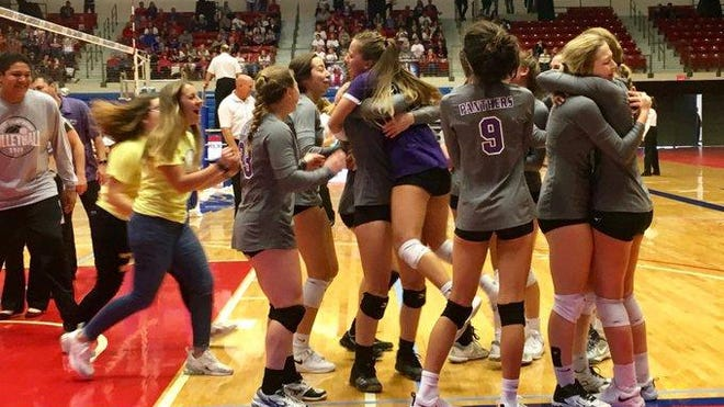 Royal Valley celebrates its first-ever Class 3A state volleyball championship after a 25-19, 25-18 win over Beloit.