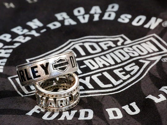 Fritz and Heidi Baertschy got married at Open Road Harley-Davidson in Fond du Lac. Shown are the couple's Harley wedding rings.