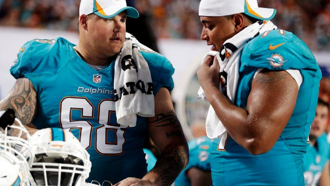 Former Miami Dolphins Richie Incognito (68) and Jonathan Martin (71) were at the center of a bullying scandal, which resulted in the NFL moving to take a tougher stance racially-charged taunting.