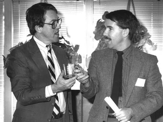 Peter Cronk with Randy Mooney, then-marketing director