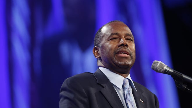 Republican Ben Carson speaks Saturday, May 16, 2015, during the Republican Party of Iowa's Lincoln Dinner in Des Moines.