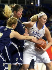 Rebecca Reuter (24) has been one of MTSU's top post players this season.