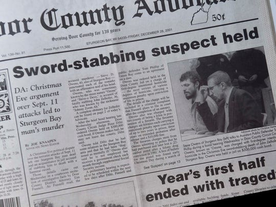 The front page of the Dec. 28, 2001 Door County Advocate, with the lead story on the murder of John Zelhofer by Steve Owens with a martial arts sword.