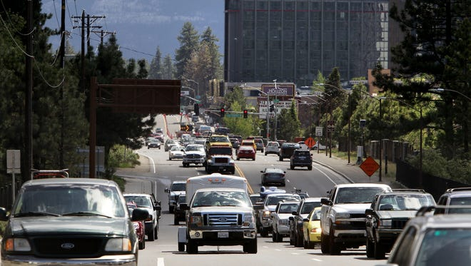 A file photo of  cars making their way down U.S. Highway 50 towards Stateline in South Lake Tahoe, Calif.