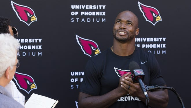 Arizona Cardinals running back Adrian Peterson said that he was praying for a change of scenery while talking to the media after practice at the team's training facility in Tempe, Ariz. October 11, 2017.