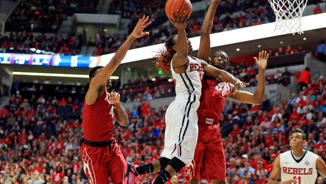 Ole Miss guard Stefan Moody attempts a shot Thursday night against Alabama. He ranks sixth nationally in scoring at 23.5 points per game.