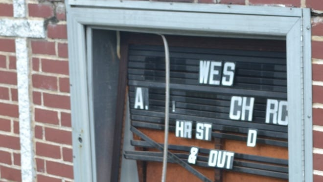The sign at the John Wesley AME Church in Chambersburg was vandalized recently.