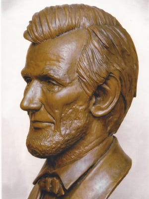 A close-up look at Ron Moore's bust of Abraham Lincoln. The bust created by the Mountain Home sculptor is on display at the state Capitol in Little Rock.