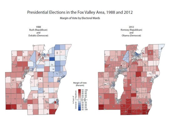 Presidential election results by city, village and township in the Fox Valley