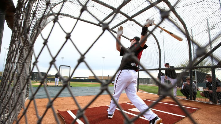 Arizona Diamondbacks' Paul Goldschmidt at batting practice during spring training camp on Feb. 17, 2017 at Salt River Fields.
