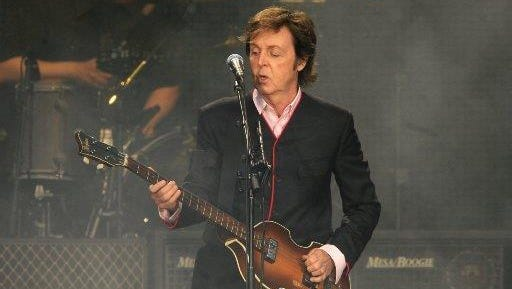 Paul McCartney at the start of his Comerica Park show in July 2011.