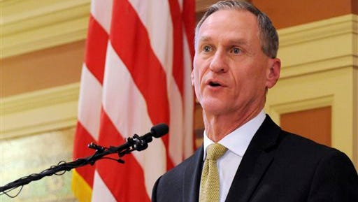FILE - In this Jan. 12, 2016  file photo, South Dakota Gov. Dennis Daugaard delivers his during his annual state of the state address at the state Capitol in Pierre. Daugaard vetoed a bill Tuesday, March 1, 2016, that would have made it the first state in the U.S. to approve a law requiring transgender students to use the bathrooms and locker rooms that match their sex at birth.  (AP Photo/James Nord, File)