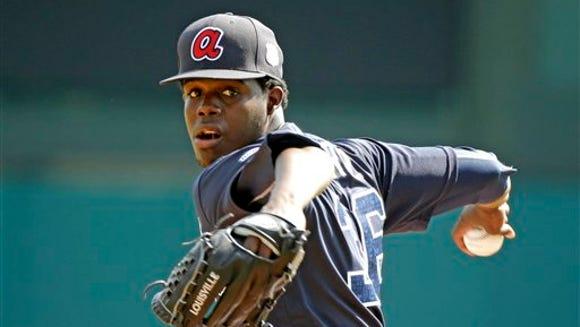 Atlanta Braves pitcher Jose Ramirez throws in the fourth