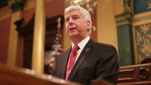 Gov. Rick Snyder gives his State of the State speech in January, in which he apologized or the Flint water crisis.