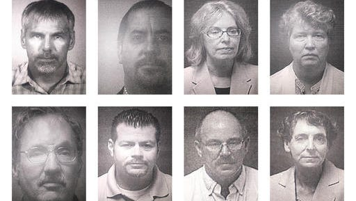 This combination of undated booking photos provided by the Michigan Attorney General's Office on Friday, Aug. 19, 2016 shows current and former state employees under prosecution for their role in Flint, Mich.'s lead-contaminated water crisis. First row from left are Patrick Cook, Michael Glasgow, Corinne Miller, Nancy Peeler. Second row from left, are Michael Prysby, Adam Rosenthal, Robert Scott and Liane Shekter-Smith. (Michigan Attorney General's Office via AP)