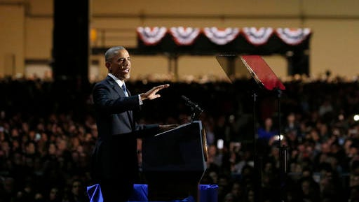 President Barack Obama speaks at McCormick Place in Chicago, Tuesday, Jan. 10, 2017, giving his presidential farewell address.