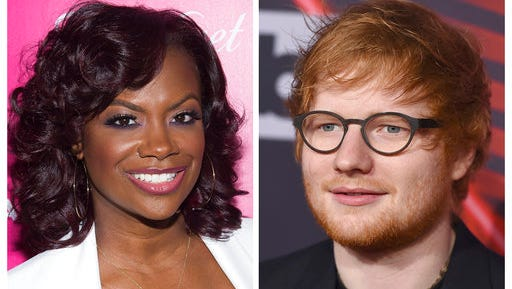 """FILE - In this combination photo, musician, songwriter and TV personality Kandi Burruss, left, appears at the OK! Magazine's So Sexy Party in June 1, 2016 in New York and musician Ed Sheeran appears at the iHeartRadio Music Awards on March 5, 2017, in Inglewood, Calif. On the website for performance rights organization ASCAP, Burruss, Tameka Cottle and Kevin Briggs have been added as co-writers of """"Shape of You,"""" co-written by Sheeran, Steve Mac and John McDaid. Burruss, also a reality star on Bravo's """"The Real Housewives of Atlanta,"""" posted about the news Sunday, March 19, 2017, on her Instagram page."""
