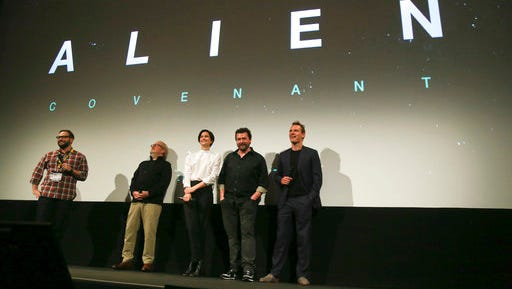 """Director Ridley Scott, Katherine Waterston, Danny McBride, and Michael Fassbender, from left at rear, discuss their upcoming film, """"Alien: Covenant,"""" before a special screening of """"Alien"""" at the Paramount Theatre during the South by Southwest Film Festival on Friday, March 10, 2017, in Austin, Texas."""