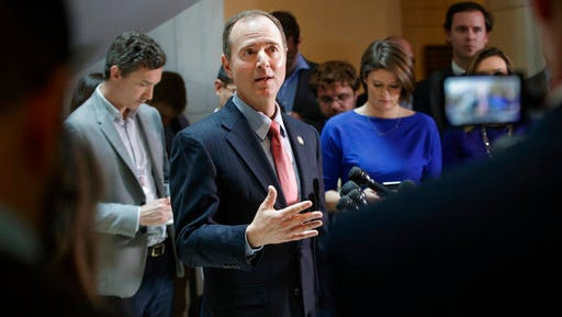 Rep. Adam Schiff, D-Calif., ranking member of the House Intelligence Committee, speaks to reporters on Capitol Hill in Washington, Thursday, March 30, 2017, about the actions of Committee Chairman Rep. Devin Nunes, R-Calif. as the panel continues to investigate Russian interference in the 2016 U.S. presidential election and the web of contacts between President Donald Trump's campaign and Russia.