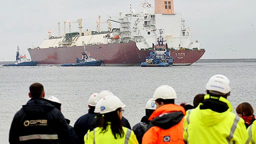 In this file photo taken Dec. 11, 2015 at the Baltic port of Swinoujscie, Poland, the giant liquefied natural gas tanker Al Nuaman, carrying some 200,000 cubic meters of liquefied gas from Qatar, arrives in Swonoujscie, the first delivery to the freshly-built LNG terminal, as Poland seeks to cut its dependence on gas deliveries from Russia. Poland's officials said Thursday, April 27, 2017, the country has just signed its first purchase of LNG from a U.S. supplier.