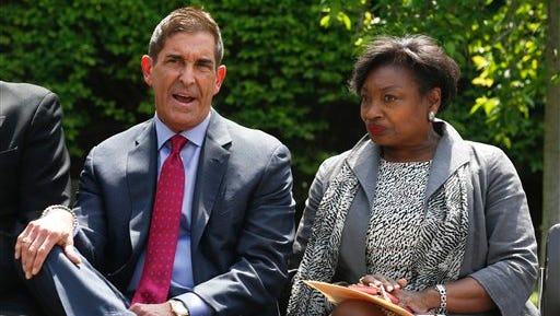 Independent Democratic Conference Leader Jeff Klein, D-Bronx, left, and Senate Democratic Conference Leader Andrea Stewart-Cousins, D-Yonkers, talk on Tuesday, May 17, 2016, in Albany, N.Y.